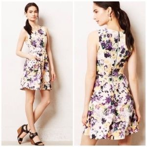 Maeve Anthro Textured Floral Fit and Flare Dress